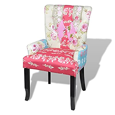 Patchwork Chair Upholstered Armrest Relax Multi Coloured - cheap UK chair store.