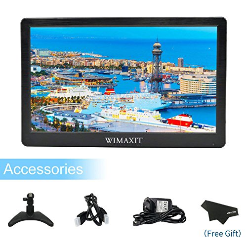 WIMAXIT 12 Zoll Portable Monitor HD 1920x1080 IPS LCD HDMI Monitor Bildschirm Eingang Audio Video Display mit HDMI Kabel für PC Computer Kamera DVD Sicherheit CCTV DVR Home Office Surveillance (Sicherheit-video-monitor)