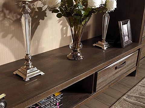 Media Support TV Meuble console en bois pour écrans plats en bois massif avec 2tiroirs, Orme, Style Moderne, Espresso