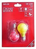 Konstsmide 5685-520 Ersatzbirne / für LED Biergartenkette /  24V, 0,24W / 2er Blister / bunte Birnen / E14 Schraubgewinde