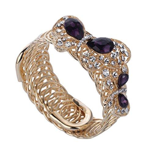YAZILIND Style de Chic Young Lady plaqué or strass papillon Bracelet Venant Violet