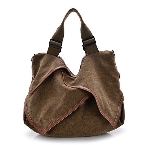 Ladies Handbag,Yoyoung Women Large Capacity Pure Color Canvas Hobo Bags Shoulder Bag Handbag (Brown)
