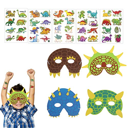 KATOOM 17tlg Dino Masken Set 12er Dinosaurier Masken Schaumstoff Kindermasken mit 5 Dino Sticker Mitgebsel für Kindergeburtstag Party Maskerade