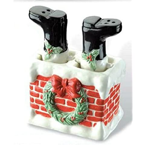 Ceramic Chimney Santa Salt & Pepper Set by KZ