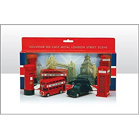 London Souvenir / Collectable Die Cast 8-9cm length Model Set Containing Bus, Taxi, Telephone Box and Post Box