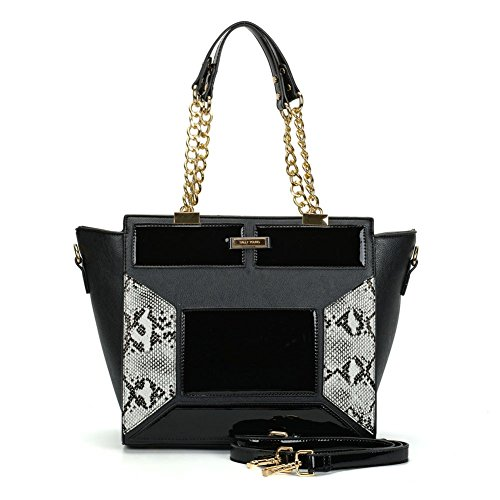 Sally-Young-Black-Winged-Tote-bag-with-Snakeskin-detailing