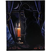Midnight Vigil - Black Cat at Night with Candle in Window - Fantastic Design by Artist Lisa Parker - 19cm x 25cm Canvas Picture on Frame Wall Plaque / Wall Art by Lisa Parker