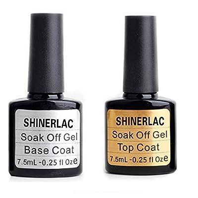 Shinerlac Top And Base Coat Twin Pack Uv Gel Nail Polish Soak Off Gel