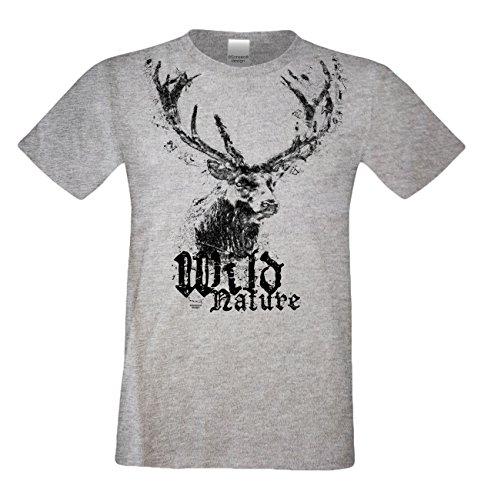 Herren Trachten T-Shirt mit Hirsch Motiv : Trachtenshirt für Oktoberfest Volksfest Freizeit : Wild Nature : Baumwolle : Übergrößen bis 5XL Farbe: dunkelgrau Gr: L