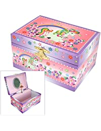 Mele & Co. Girls Pink Musical Unicorn Jewellery Box with Flower & Rainbow Design