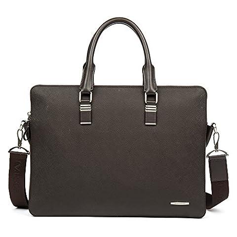 BOSTANTEN Leather Briefcase Messenger Laptop Business Office Bag for Men Coffee Cross