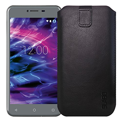 Slabo Schutzhülle für Medion E5008 (MD60746) Schutztasche Handyhülle Case mit Magnetverschluss aus PU-Leder - SCHWARZ | Black