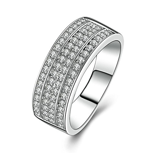 SonMo Ring Solitär 925 Sterling Silber Hochzeit Ring Eheringe Heiratsantrag Ring Solitär Ring Silber Weiß Ringe mit Diamant Zirkonia Damenringe Größe 60 (19.1)