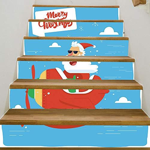 eber 6 Stück Weihnachten Verkleiden Sich Santa Claus Open Flugzeug DIY Selbstklebende wasserdichte Dekorative Wandaufkleber 18 * 100cm ()