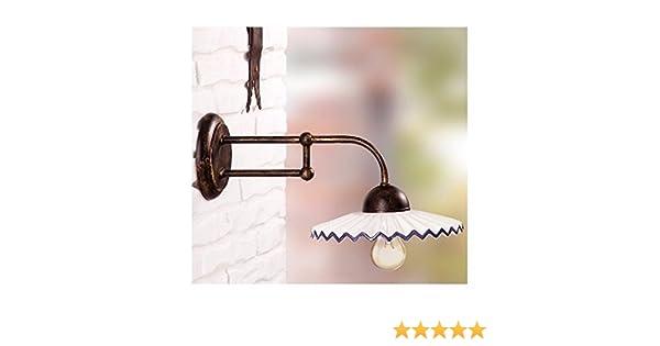 Applique lampada da parete in ferro battuto con piatto in ceramica