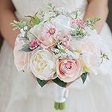 Iffo personnalisées mariée à la main tenant Bouquet Bouquet mariée mariée Demoiselle d'honneur poignet Fleur Pivoine Fleur Pétale de rose Blanc Décoration DIY