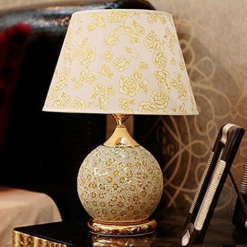 Luxus-Glas-Tischlampe oben und unten doppelte Steuerung energiesparende Lampe europäische Hochzeits-Schlafzimmer-Nachttischlampe ( Farbe : Gold-A )