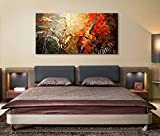 everfun Art Handbemalt Ölgemälde moderne Musik Instrument Wand Kunst Abstrakt Artwork Wandbild zum Aufhängen, Öl, Rot, Orange, Framed 48*24 inch