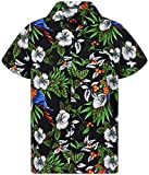Funky Hawaiian Shirt, Cherry Parrot, Nero, L