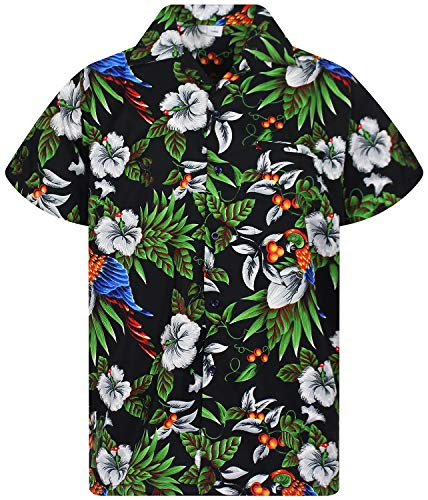 V.H.O. Funky Hawaiihemd, Kirschpapagei, schwarz, 3XL -