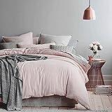 100% Cotton Duvet cover Pillow cases 3pcs Pale Pink/Silver Grey Bedding 400TC (Double)