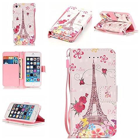 Chreey Coque Apple Iphone 5 / 5S 5SE (4 pouces)(3D-visuel),PU Cuir Portefeuille Etui Housse Case Cover ,carte de crédit Fentes pour ,idéal pour protéger votre téléphone