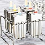 sonicee Set von 6PCS Edelstahl Eis Machen Popsicle Kuchen Formen Joghurt Frozen Cube Pops mit Stick Halter Round