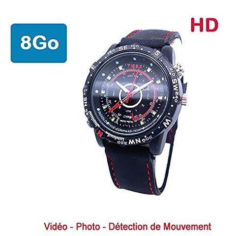 Montre Caméra Cachée Espion 8 Go HD 1280x960 NAVI détecteur de mouvement