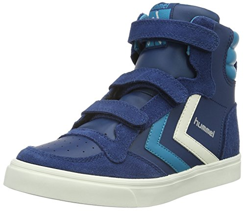 Hummel Stadil Leather Jr, Sneakers Hautes Mixte Enfant Bleu (Poseidon)
