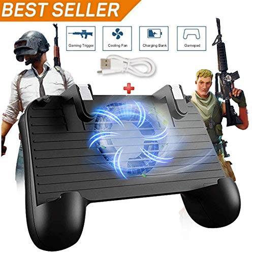 Mobile Game Controller für PUBG 5-in-1 Upgrade Version Gamepad Shoot and Aim Trigger Phone Cooling Pad Power Bank für Android & iOS Fortnite/Messer Out - Einfach Die Ps4 Bewegen Sie