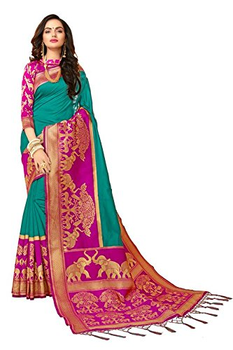 Trendzvila Banarsi Silk party wear fancy Turquoise Blue saree (TR-28785)