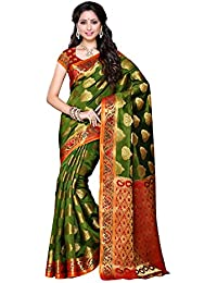 MIMOSA Women's Artificial Silk Saree with Blouse Piece (161-OLV-RD _Red and Olive)