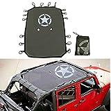 Esyauto nero parasole copertura superiore in rete durevole auto tetto Eclipse protezione UV con stella modello per Unlimited JK 4 porta