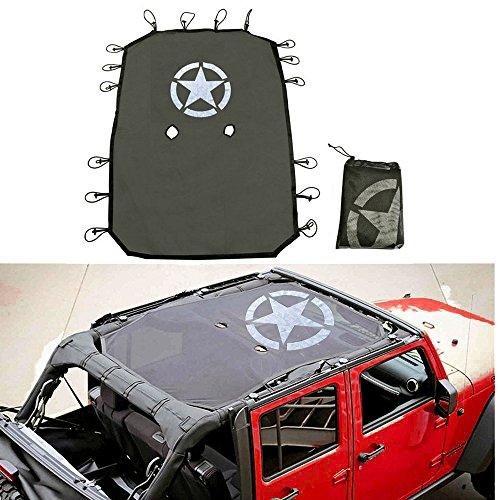 esyauto schwarz Sonnenschutz Mesh Top Cover Langlebig Auto Dach Eclipse UV-Schutz mit Stern Muster