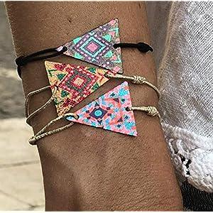 3er Set Armband Frauen Freundschaftsarmband Made by Nami Armbänder – Surfer Schmuck Damen mit Anhänger – auch als Fußkettchen – Dreieck