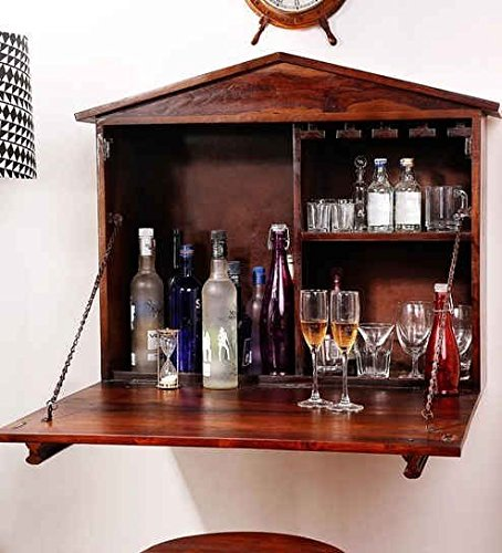 Ringabell Aperitif Solid Wood Wall Bar Cabinet (Teak)