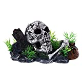 SRI Imported Skull Skeleton Hiding Cave Aquarium Ornament Fish Tank Decoration Decor
