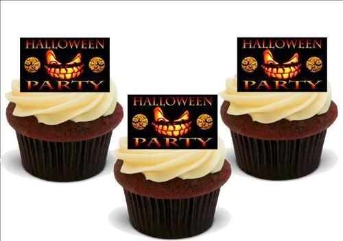 Orange und schwarzes gespentisches HALLOWEEN PARTY Schild- 12 essbare hochwertige stehende Waffeln Kuchen Toppers - Orange Black Spooky HALLOWEEN PARTY Sign (Spooky Halloween Kuchen)