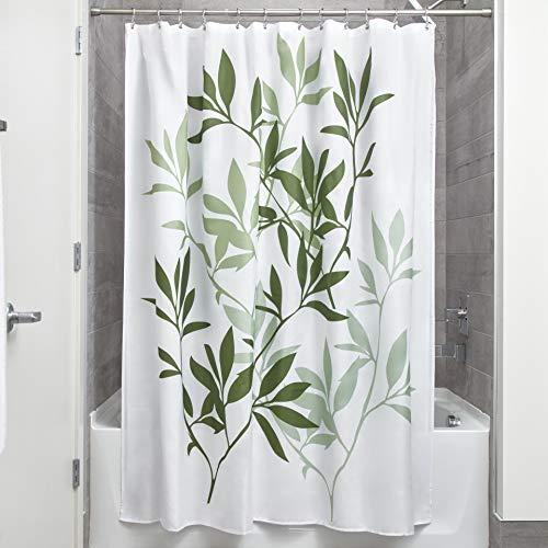 iDesign Leaves Duschvorhang | Designer Duschvorhang in der Größe 183,0 cm x 183,0 cm | schickes Duschvorhang Motiv mit Blättern | Polyester grün - Rod Grüne Vorhang
