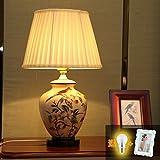Dngy*cerámica lámpara dormitorio jardín lámpara de mesilla lámpara de estilo europeo, moderno y acogedor creativo Bodas Decoración lámpara , afta Lin Ti caja de luz - base negra, interruptor de botón