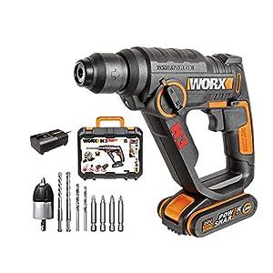 WORX 20V WX390 Bohrhammer, 2,0 Ah, PowerShare, SDS-plus -Bohrmaschine mit pneumatischem Hammerwerk zum Schrauben, Bohren…