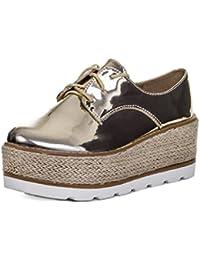 SPYLOVEBUY AIMEE Mujer Cordone Plataforma Tacón de Cuña Zapatos de salón
