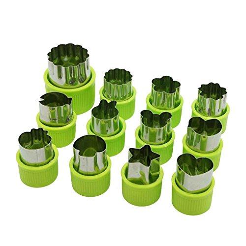 Providethebest 12pcs / Set Edelstahl-Frucht-Blumen-Form-Cutter Salat Carving Gemüse Mold Küchenhelfer Plätzchen Fondant