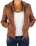 Damen Lederjacke Kunstlederjacke Leder Jacke Damenjacke Jacket Bikerjacke 809all XL Nussbraun