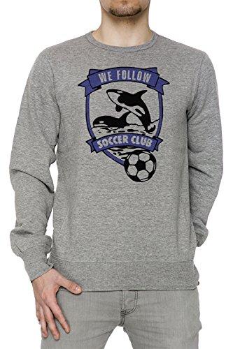 We Follow Soccer Club Uomo Grigio Felpa Felpe Maglione Pullover Grey Men's Sweatshirt Pullover Jumper