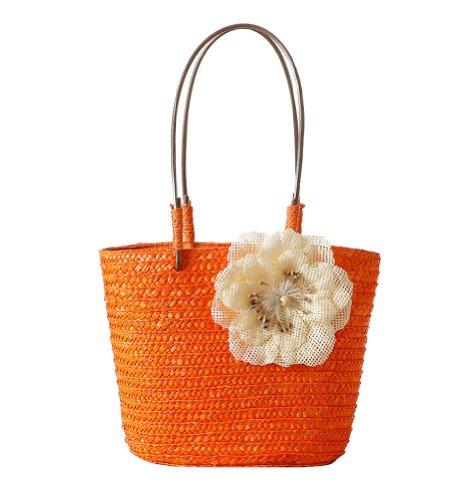 Tonwhar ® Sweet Lady, Stroh, Beach Bag, Einkaufstasche, klein Orange - Orange
