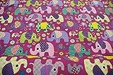 Stoff / Meterware / ab 25cm / beste Jersey-Qualität / Jersey Elefanten auf lila / violettem Hintergrund