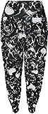 WearAll - Mujeres Tallas Grandes Impreso Largo Harén Pantalones - Calavera Rosas - 40-42