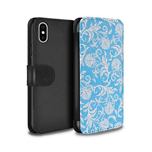 Stuff4 Coque/Etui/Housse Cuir PU Case/Cover pour Apple iPhone X/10 / Fleurs Vertes Design / Fleurs Collection Fond Bleu