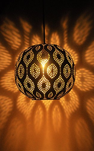 Logam Black & Gold Moroccan Ball Pendant Lamp